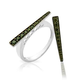 Superb 0.26ct Round Brilliant Cut Green Color Natural Diamond Designer Ring