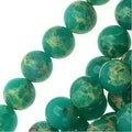 Impression Jasper Gemstone Beads, Round 6mm, 15 Inch Strand, Teal Green - Thumbnail 0