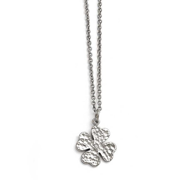 Chisel Stainless Steel Polished Four Leaf Clover with Crystal Necklace - 18 in