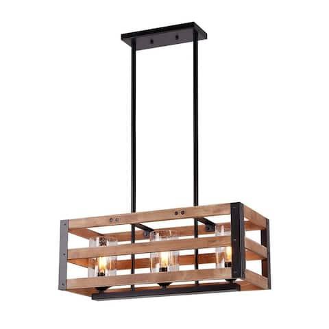 3 light wood & glass black industrial chandelier