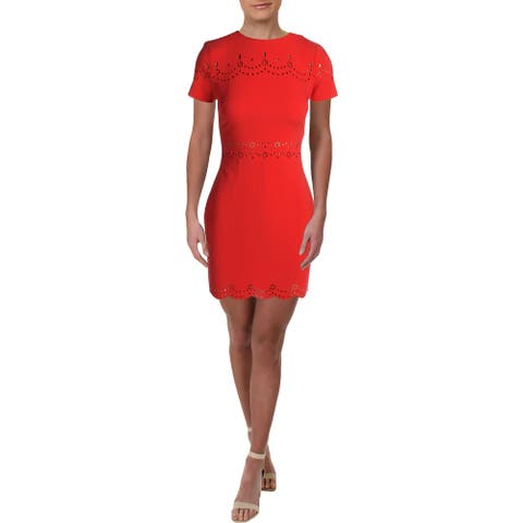Likely Womens Sheath Dress Laser Cut Above Knee - Red - 2