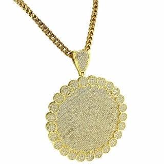 "Custom Round Medallion Flower Pendant 14k Gold Tone Iced Out 36"" Franco Chain"