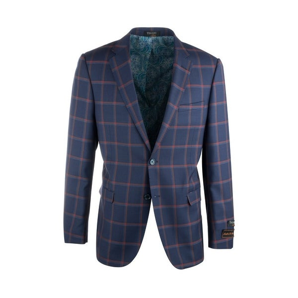 Sangria Navy Blue with Red Windowpane Pure Wool Jacket by Tiglio Luxe. Opens flyout.