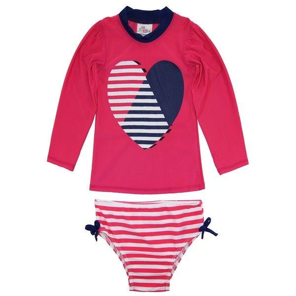 Sweet Soft Toddler Girls Long Sleeve Heart Stripes Swim