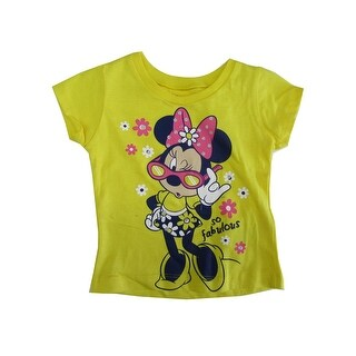 "Disney Baby Girls Yellow Minnie Mouse ""So Fabulous"" Print T-Shirt"
