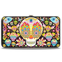 Illuminate Calaveras Black Multi Color Hinged Wallet - One Size Fits most