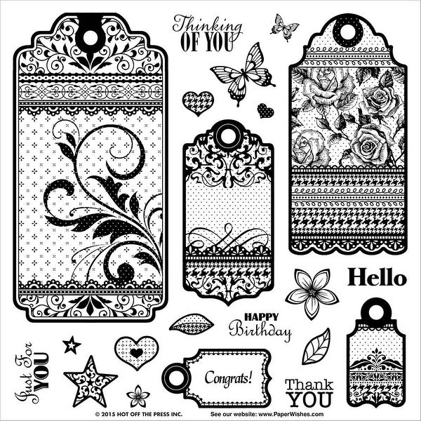"Hot Off The Press Acrylic Stamps 8""X8""-Tags & Trim"