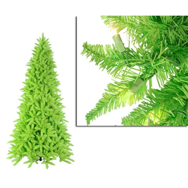 10' Pre-Lit Slim Lime Green Ashley Spruce Christmas Tree - Clear & Green Lights