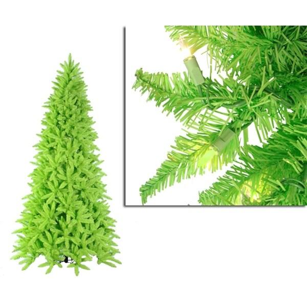 9' Pre-Lit Slim Lime Green Ashley Spruce Christmas Tree - Clear & Green Lights