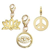 Julieta Jewelry Lucky Eye, Lotus Flower, Peace Sign 14k Gold Over Sterling Silver Clip-On Charm Set