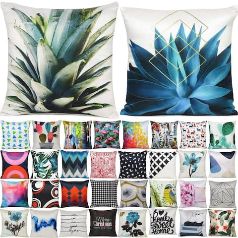 Home Decorative Luxury Soft Cushion Covers with Zippered Digital Printing Single Pillow Cases for Home Dorm Couch Bed (18x18)