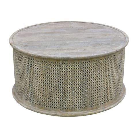 Sumter 36-inch Diameter Mango Wood Drum Coffee Table