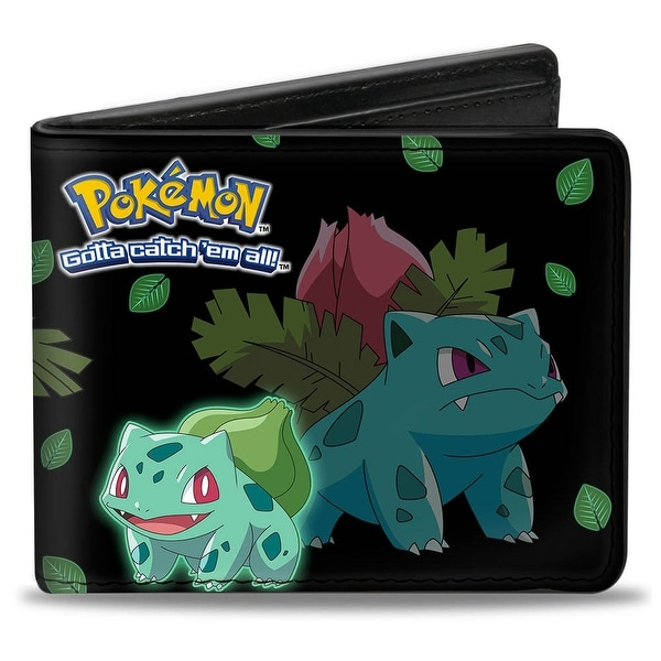 Bulbasaur Evolution Poses Pokmon Logo Black Green Leaves Bi Fold Wallet - One Size Fits most