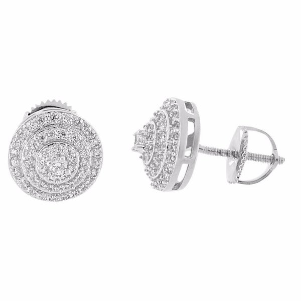 Halo Design Earrings Iced Out Lab Diamonds Screw Back Hip Hop 10mm Studs