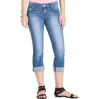 Indigo Rein Womens Juniors Cropped Jeans Denim Faded