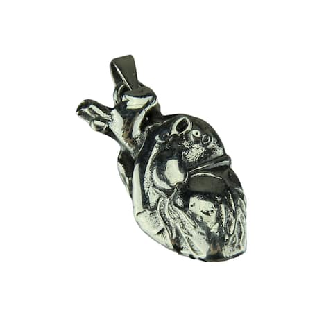 Anatomical Human Heart Sterling Silver Pendant - 1 X 0.5 X 0.25 inches