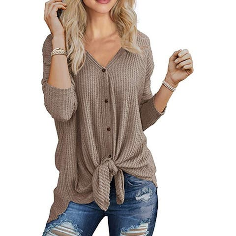 Women's Knit Tunic Blouse Tie Knot Sweater Tops Button Down T Shirts