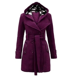 Womens Coats Military Button Hooded Fleece Belted Jacket Outwear Trench Coat