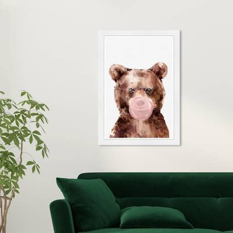 Olivias Easel Prints 'Brown Bear Bubblegum' Animals Brown Wall Art Framed Print