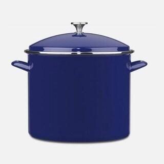Cuisinart EOS206-33CBL Enamel Stockpot with Cover, 20-Quart, Cobalt Blue