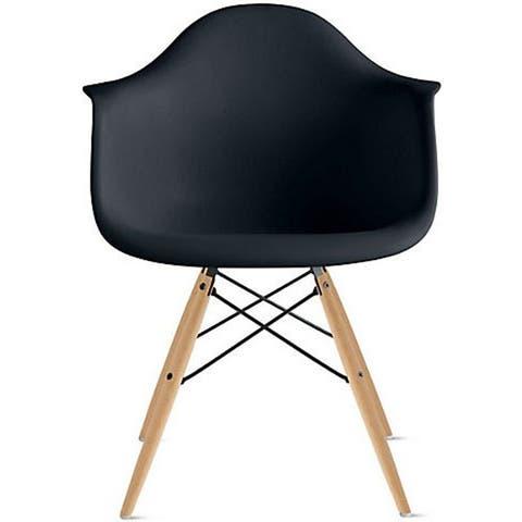 Plastic Dining Room Chair Desk Retro Designer Kitchen Natural Wood Legs Molded Shell Desk Eiffel Vintage Dowel DSW Office