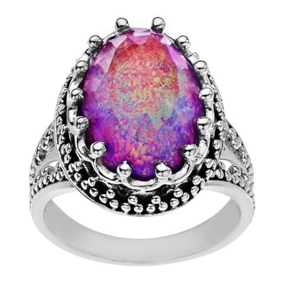 Sajen 9 1/2 ct Natural Pink Opal Quartz Ring in Sterling Silver - White