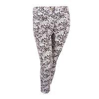 MICHAEL Michael Kors Women's Floral Print Pants - Chocolate/White - 12