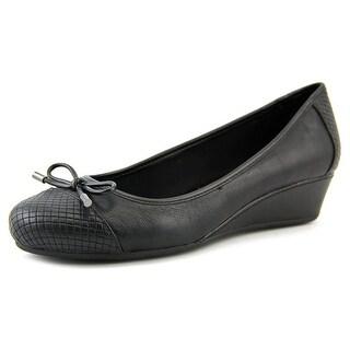 Easy Spirit Davalyn Women W Open Toe Leather Black Wedge Heel