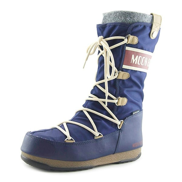Moon Boot Monaco Women Round Toe Canvas Blue Winter Boot