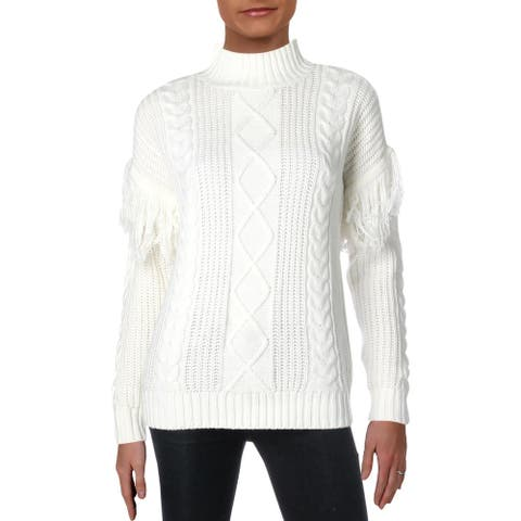 Aqua Womens Pullover Sweater Fringed Cable Knit - Winter White - XS