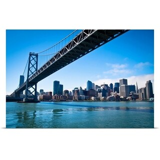 Poster Print entitled San Francisco's Bay bridge as it connects with Embarcadero.