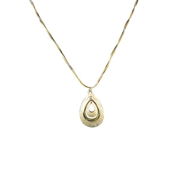max & MO Two-Tone 3-Tier Teardrop Pendant Necklace