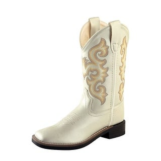 Old West Cowboy Boots Girls Kids Shine Square Toe TPR White VB9122
