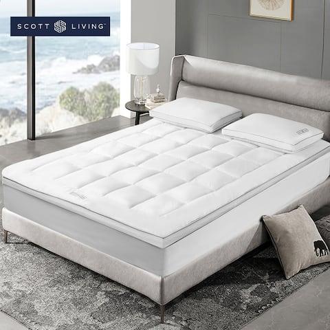 SCOTT LIVING 233 Thread Count Tencel Down Alternative Fiber Bed Mattress Pad Topper - White