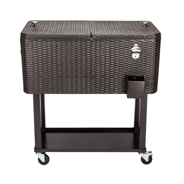 "34""Rattan Square Legs Cooler with Shelf 80QT. Opens flyout."