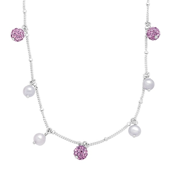Crystaluxe Girl's Lilac Freshwater Pearl Necklace with Purple Swarovski elements Crystals in Sterling Silver
