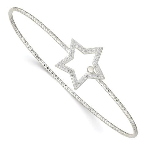 "925 Sterling Silver Diamond Cut Cubic Zirconia Star Interlocking Bangle Bracelet, 6.5"""