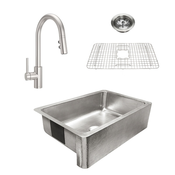 Percy Apron-Front Brushed Stainless Steel 32 in. Single Bowl Kitchen Sink with Pfister Stainless Stellen Faucet All-in-One Kit. Opens flyout.