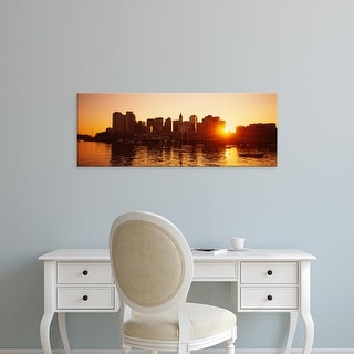 Easy Art Prints Panoramic Images's 'Sunset over skyscrapers, Boston, Massachusetts, USA' Premium Canvas Art