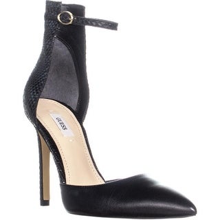 Guess Abaih2 Ankle Strap Heels, Black Leather - 8 us