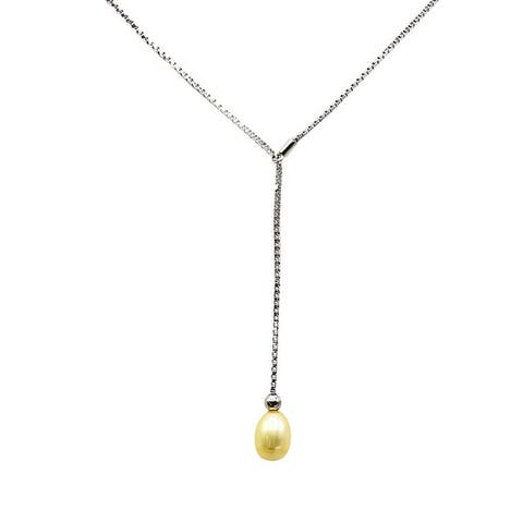 Teardrop Pearl on Silver Lariat - Choose from 8 Colors