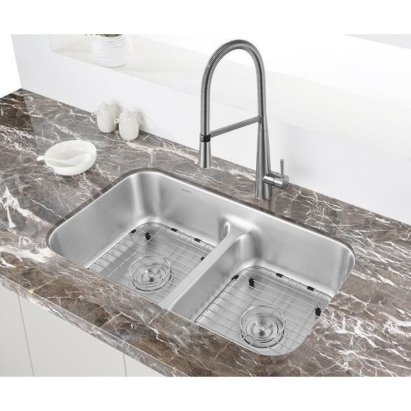 Shop Ruvati 32 Inch Low Divide 50 50 Double Bowl Undermount 16 Gauge Stainless Steel Kitchen Sink Rvm4350 Overstock 9653618