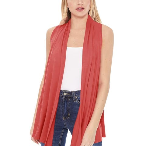 Women's Sleeveless Solid Draped Cardigan Vest