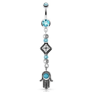 Hamsa with Turquoise Bead and Cascading Tribal Beads Dangle 316L Surgical Steel Navel Belly Button Ring