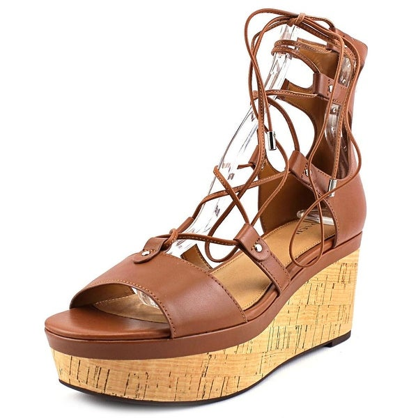 Coach Barkley Women Open Toe Leather Tan Wedge Sandal