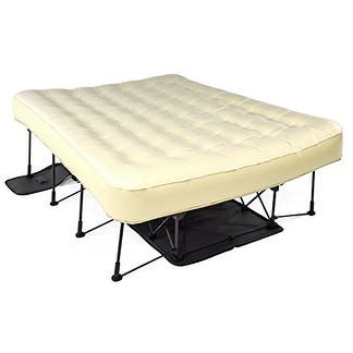 Ivation EZ-Bed (Queen) Inflatable Mattress With Frame & Rolling Case, Auto Shut-Off To Desired Comfort Queen