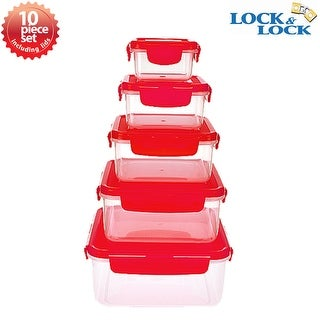 Lock and Lock 10pc Airtight Spill Proof Plastic Food Storage Nesting Square Container Set