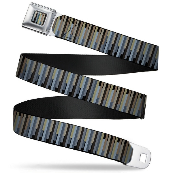 Rz Vertical Stripes Full Color Black Grays Light Browns Rz Vertical Stripes Seatbelt Belt