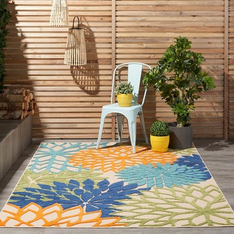 Nourison Aloha Floral Modern Abstract Indoor Outdoor Area Rug