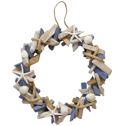 Porch & Den Hand-assembled Ocean Motif Wood Wreath with Hanging Loop